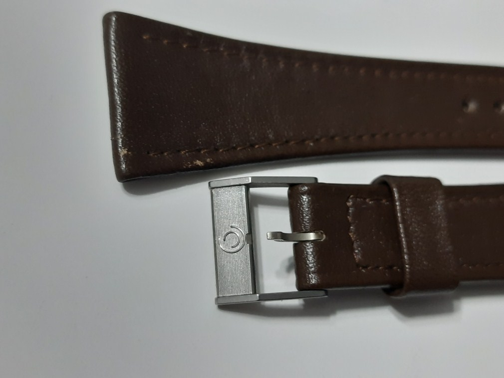 22MM 1960-70'S NOS CERTINA BROWN LEATHER BAND STRAP + SS CERTINA BUCKLE