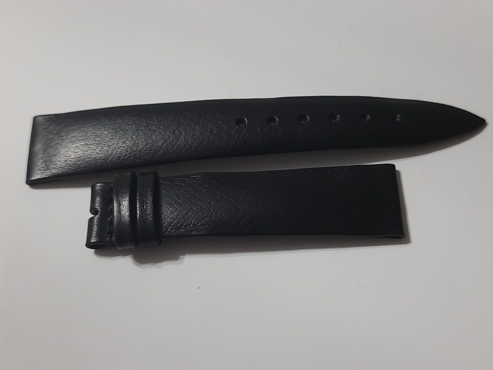 VINTAGE NOS 1960-70'S VULCAIN 19X16 MM BLACK LEATHER BAND STRAP