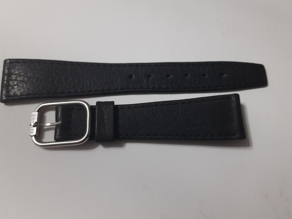 VINTAGE NOS 19X14MM TISSOT BLACK LEATHER BAND STRAP + SS TISSOT BUCKLE
