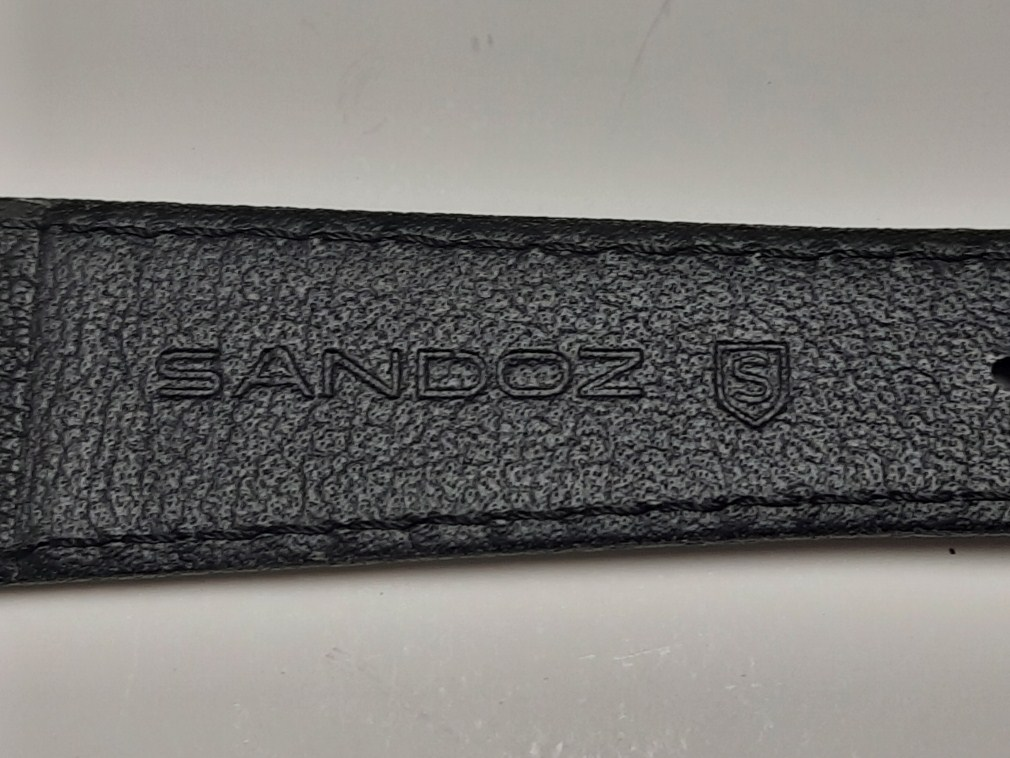 NOS GENT'S 18X14MM SANDOZ BLACK LEATHER BAND STRAP