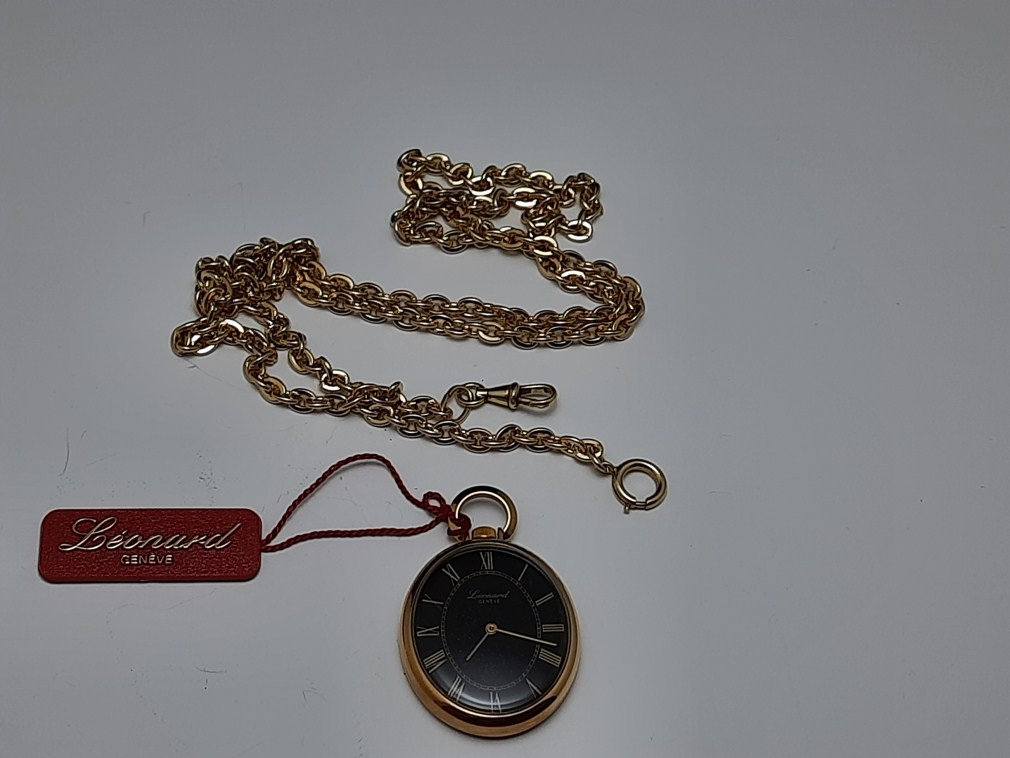 BEAUTIFUL NOS 1960-70'S SWISS LEONARD MANUAL PENDANT / POCKET WATCH