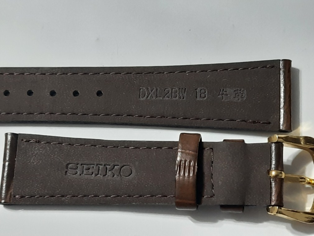 VINTAGE NOS 18MM SEIKO BROWN BAND STRAP + GP SEIKO BUCKLE