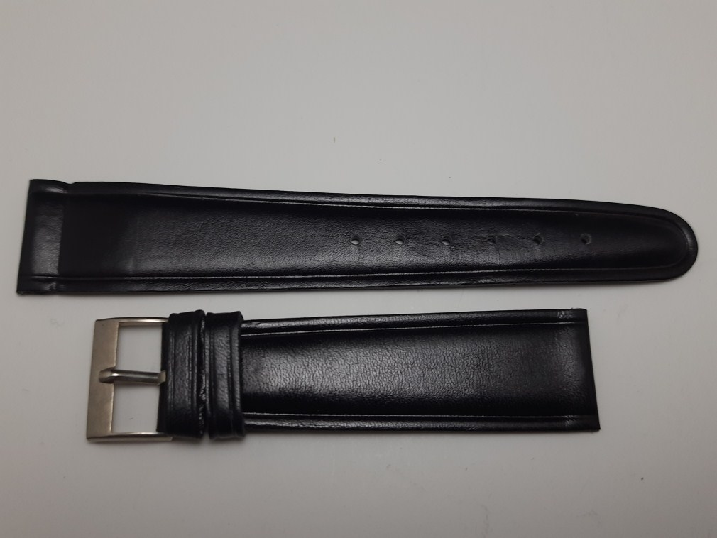 1960'S VINTAGE NOS 120MM RODANIA BLACK LEATHER BAND STRAP