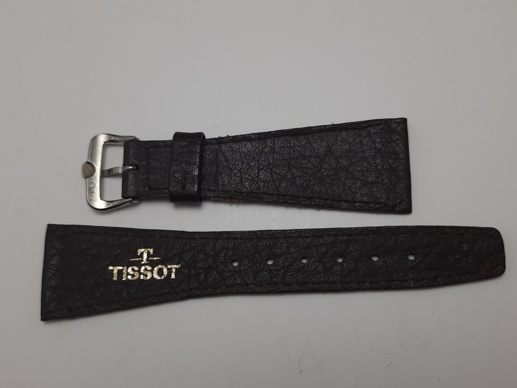 VINTAGE NOS 22X14MM TISSOT BROWN LEATHER BAND STRAP + SS TISSOT BUCKLE
