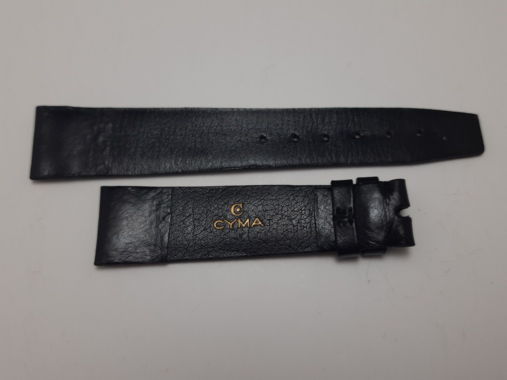 VINTAGE 1960-70'S 19MM CYMA BLACK LEATHER BAND STRAP